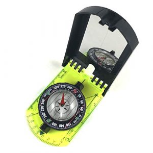DETUCK  1 DETUCK(TM Map Compass and Protractor Green Acrylic Rotating Bezel Sighting Compass with Mirror for Camping Hiking Hunting Boating Mapping Drawing Outdoor