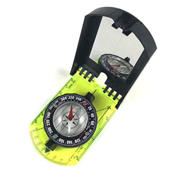DETUCK Survival Compass 1 DETUCK(TM Map Compass and Protractor Green Acrylic Rotating Bezel Sighting Compass with Mirror for Camping Hiking Hunting Boating Mapping Drawing Outdoor