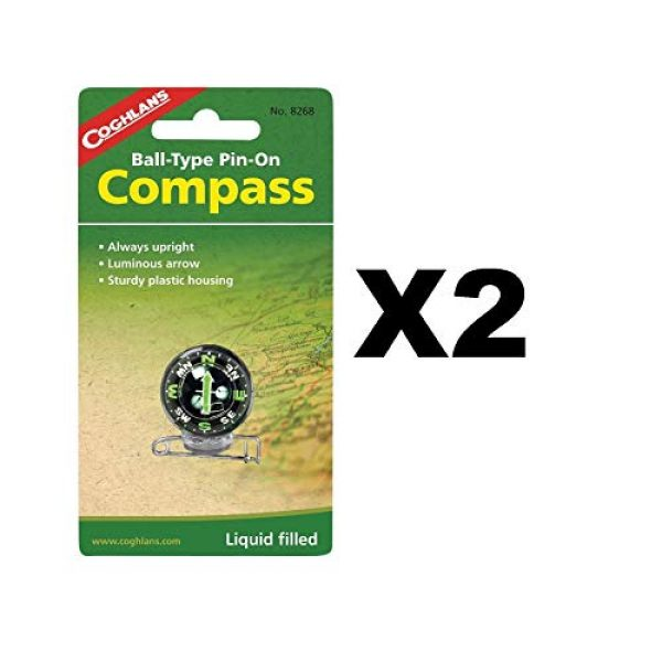 Coghlan's Survival Compass 1 Coghlan's 8268 Pin-On Compass Set of 2