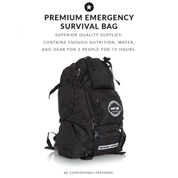 Sustain Supply Co. Survival Kit 4 Sustain Supply Co. Premium Emergency Survival Bag/Kit - Be Equipped with 72 Hours of Disaster Preparedness Supplies for 2 People, Comfort2