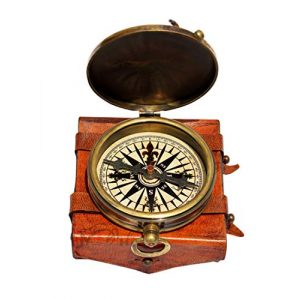 MAH Survival Compass 1 MAH ''Robert Frost Poem'' Engraved Antiquated Finish Brass Compass with Case. C-3241