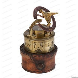 US HANDICRAFTS Survival Compass 1 Vintage Compass NAVIGATIONAL Instrument - Marine Sundial Compass with Leather Case & Calendar.