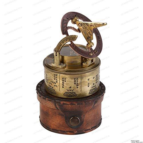 US HANDICRAFTS Survival Compass 1 Vintage Compass NAVIGATIONAL Instrument - Marine Sundial Compass with Leather Case & Calendar.