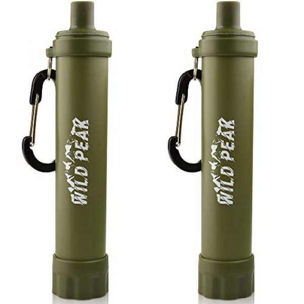 Wild Peak Survival Water Filter 1 Wild Peak Stay Alive-2 Outdoor Activated Carbon 4000 Liter Water Filter Emergency Straw with Compass, Whistle, Signal Mirror, Carabiner for Survival, Camping, Hiking, Climbing, Backpacking (2-Pack)