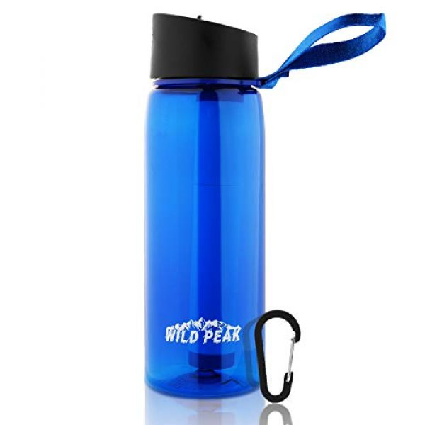 Wild Peak Survival Water Filter 1 Wild Peak Stay Alive-4 Outdoor 4-Stage Water Filter Straw Emergency 22oz Bottle with Activated Carbon for Survival, Camping, Hiking, Climbing, Backpacking (1500 Liters)