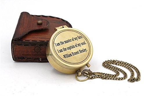Roorkee Instruments India Survival Compass 1 Roorkee Instruments India Directional Compass William Ernest Heanly Quote Engraved with Stamped Leather Case for Camping, Hiking, Touring
