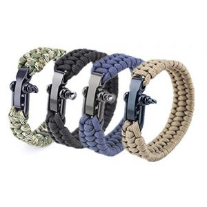 Hewnda Survival Paracord Bracelet 1 Hewnda 4Pack Paracord Survival Bracelet with Stainless Steel Black U Shackle