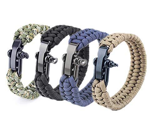 Hewnda  1 Hewnda 4Pack Paracord Survival Bracelet with Stainless Steel Black U Shackle
