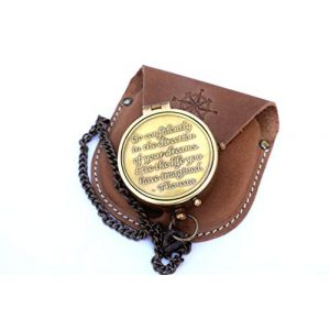 NEOVIVID Survival Compass 1 NEOVIVID Brass Compass Engraved with Thoreau's Go Confidently Quote and Stamped Leather Case, Boys Gifts
