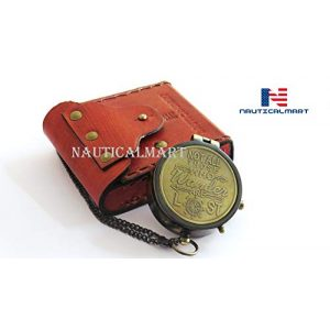 NauticalMart Survival Compass 1 Brass Compass Engraved with NOT All Those WHO Wander are Lost with Gift Case Nautical Collectible
