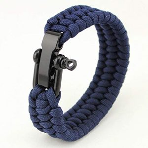 "AKZYTUE Survival Paracord Bracelet 1 AKZYTUE Paracord Survival Bracelet with Adjustable Stainless Steel D Shackle - Suitable for 7""-9"" Wrists"