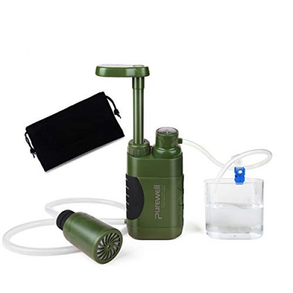 Purewell Survival Water Filter 1 Purewell Water Purifier Pump with Replaceable Carbon 0.01 Micron Water Filter, 4 Filter Stages, Portable Outdoor Emergency and Survival Gear - Camping, Hiking, Backpacking