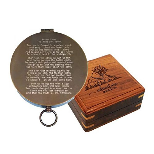 Stanley London Survival Compass 1 Stanley London Personalized Large Antique Pocket Compass Engraved with The Road Not Taken Poem by Robert Frost