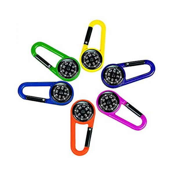 Fun Express Survival Compass 1 Plastic Compass Clips (1 Dozen) Party Favors, Outdoor Toys, Camping Supplies, Geocaching Accessories