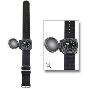 Sun Company  1 Sun Company ArmArmour 1 - Shielded Wrist Compass with Rugged Tactical Strap   Compass with Cover and Zulu Strap