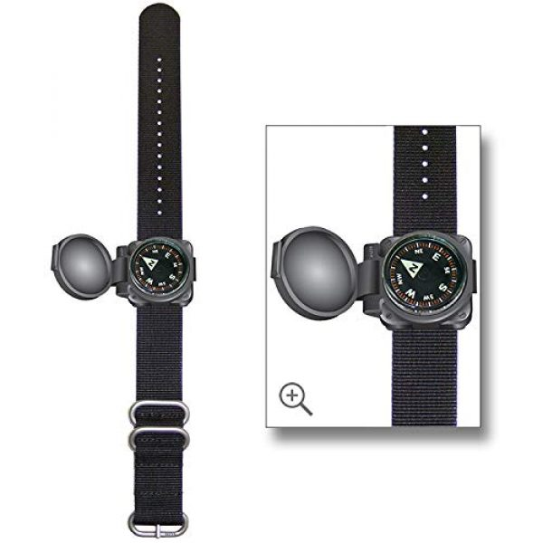 Sun Company Survival Compass 1 Sun Company ArmArmour 1 - Shielded Wrist Compass with Rugged Tactical Strap | Compass with Cover and Zulu Strap