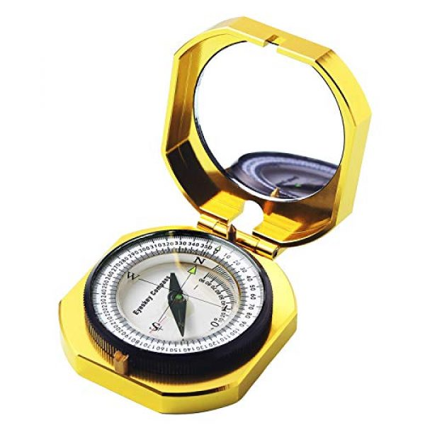Eyeskey Survival Compass 1 Eyeskey Top-Grade Multifunction Compass for Outdoor Activities, High Accuracy, Waterproof and Shakeproof, Golden