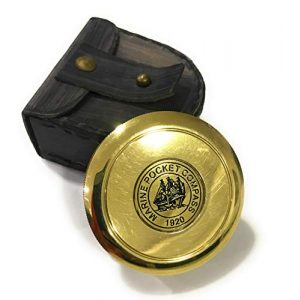 NauticalMart Survival Compass 1 Marine Brass Pocket Compass with Leather Case Nautical Gift