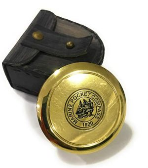 NauticalMart  1 Marine Brass Pocket Compass with Leather Case Nautical Gift