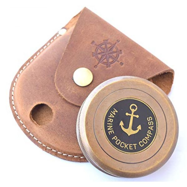 NEOVIVID Survival Compass 1 NEOVIVID Robert Frost Poem Engraved Brass Compass with Leather Case, The Road Not Taken Compass