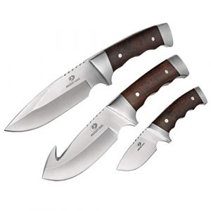 Mossy Oak Fixed Blade Survival Knife 1 MOSSY OAK Fixed Blade Hunting Knife Set 3-Piece, Wood Handle Straight Edge and Gut Hook Blades Game