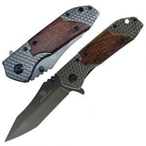 DOOM BLADE  1 DOOM BLADE One Hand Opening Folding Pocket Knife SpeedSafe with Wood Handle - EDC Pocket Folding Knife with Safety Liner Lock for Camping Hunting Survival and Outdoor