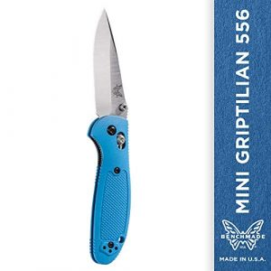 Benchmade Folding Survival Knife 1 Benchmade - Mini Griptilian 556 EDC Manual Open Folding Knife Made in USA with CPM-S30V Steel, Drop-Point Blade, Plain Edge, Satin Finish, Blue Handle