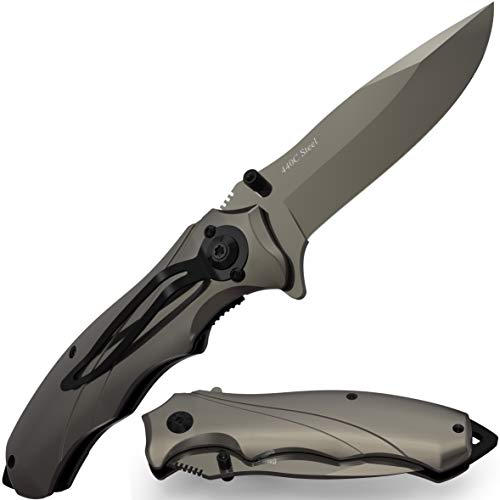 Grand Way  1 Pocket Knife for Men Best Spring Assisted Knife - Folding Knife with Glass Breaker and Pocket Clip - Tactical Knofe - Camping Hunting Hiking Fishing EDC Survival Boy Scout Knife - Gifts for Men 6495