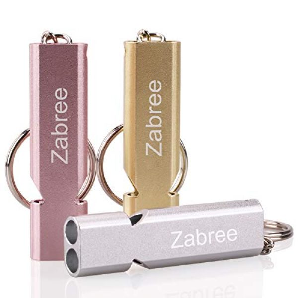 Zabree Survival Whistle 1 Zabree Emergency Whistle, 120DB Whistles with Lanyard, Aluminum Alloy Survival Whistles for Coaches, Pets Training, Outdoor Activities