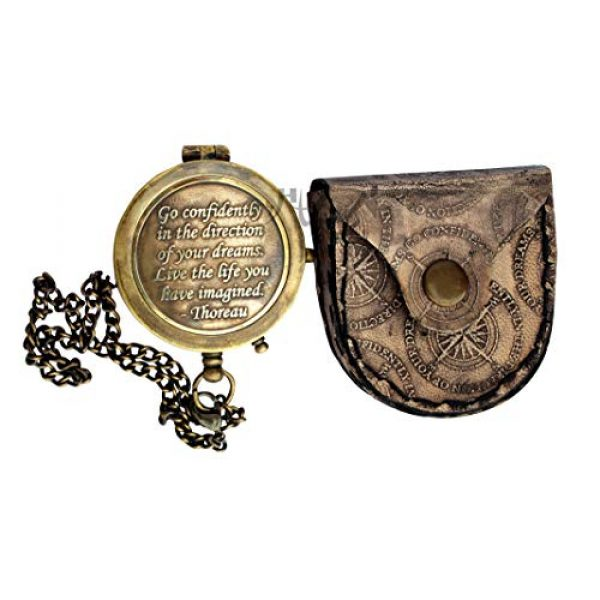 MAH Survival Compass 1 MAH Go Confidently Brass Compass Engraved with Stamped Leather Case, Direction Pocket Compass. C-3270