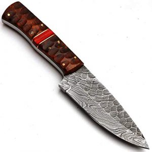 "PAL 2000  1 PAL 2000 ""8670"" Damascus Steel Knife - Damascus Knife with Leather Sheath"