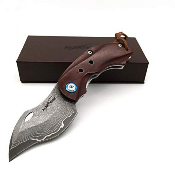ALBATROSS Folding Survival Knife 1 ALBATROSS HGDK003 Sharp VG10 Damascus Folding Pocket Knife with Liner Lock, Yellow Sandalwood Handle, Gifts/Collections