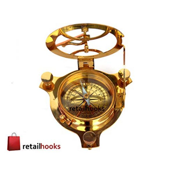 """RETAILHOOKS Survival Compass 1 RETAILHOOKS 3"""" Sundial Compass in Solid Brass with Rosewood Box for Hiking, Camping, Boating and Backpacking - Nautical Navigational Device"""