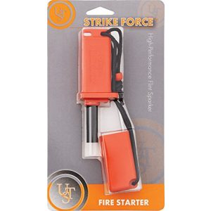 UST Survival Fire Starter 1 UST StrikeForce Fire Starter with Durable Construction and Lanyard for Camping, Backpacking, Hiking, Emergency and Outdoor Survival