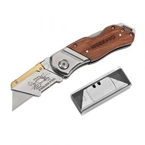 WORKPRO Folding Survival Knife 1 WORKPRO Folding Utility Knife Wood Handle Heavy Duty Cutter with Extra 10-piece Blade