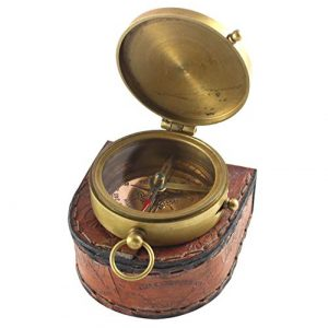 """collectiblesBuy Survival Compass 1 Antique Brass Compass with Quote in Beautiful Leather Case,2.5"""" Inch, Brass"""