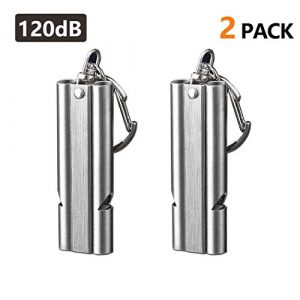 WAFJAMF  1 WAFJAMF Emergency Whistles High Pitch Double Tubes Premium Safety Survival Whistles with Lanyard Keychain for Outdoor Camping Hiking Boating Hunting Fishing 2 Pack