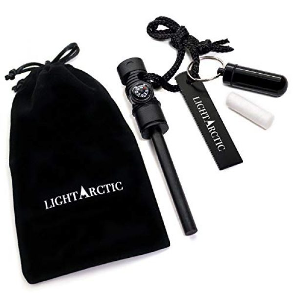 LightArctic Survival Fire Starter 1 LightArctic Magnesium Fire Starter Survival Multi-Tool with Tinder. Best for Campfires, Emergency Kit, Camping and Hiking Gear. Built-in Compass and Whistle, Waterproof Aluminum Capsule, Cloth Bag