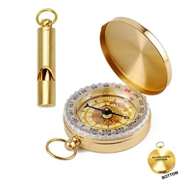 FUTURESTEPS Survival Whistle 1 FUTURESTEPS Brass Compass - Includes Solid Brass Whistle - New Version - Survival Set - 105 Decibels - Survival Kit - Solid Brass Compass - Carry in Pocket or on Necklace - Two Pieces
