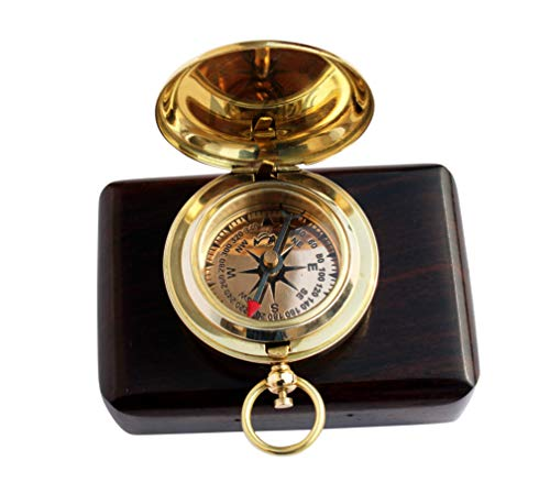 MAH  1 MAH Handmade Brass Push Button Engravable Direction Pocket Compass. C-3191