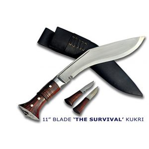 """R&T Trading Co. Fixed Blade Survival Knife 1 Authentic Gurkha Kukri-12 Blade Survival Khukuri- Carbon Steel Full Tang Blade, Rosewood Handle with Lanyard Hole, Leather Sheath(18"""" Overall Length)- Handmade by Gurkha Kukri House-Nepal"""