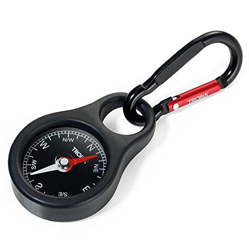 Troika Survival Compass 1 Troika WEGWEISER COS10/BK Keyring with Compass incl. Carabiner PVC/Acrylic/ABS/Aluminium red, Black Original