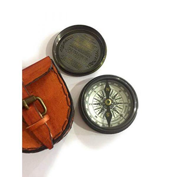 NauticalMart Survival Compass 1 Antique Pocket Compass- Marine Nautical Gift Compass w/ Leather Case