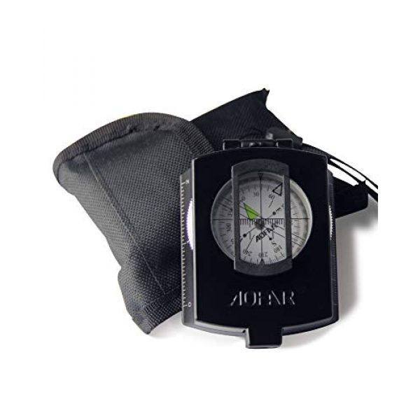 AOFAR Survival Compass 1 AOFAR AF-4580 Military Black Compass Lensatic Sighting Navigation, Waterproof and Shakeproof with Map Measurer Distance Calculator, Pouch for Camping, Hiking, Hunting, Backpacking