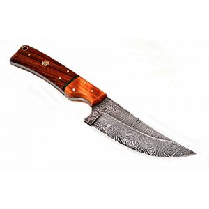 Randy knives Fixed Blade Survival Knife 1 Randy knives RA-9015 Eye catching Damascus Steel Hunting Knife with Real Leather Sheath.