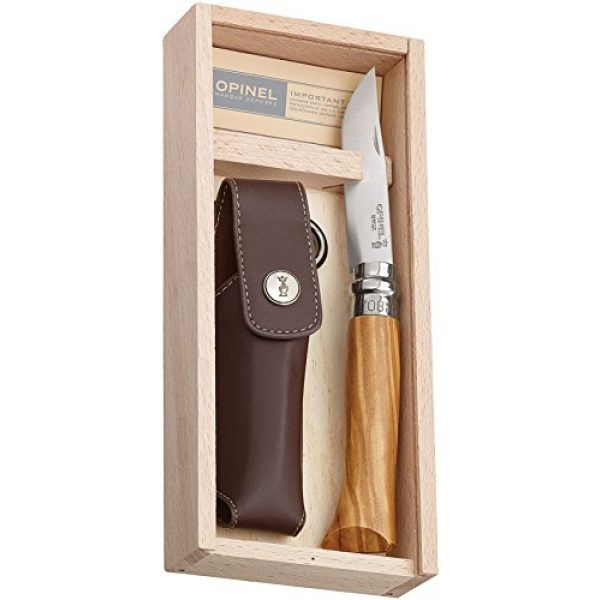 Opinel Folding Survival Knife 1 Opinel Olivewood Handle No. 8 Knife - Box Set with Sheath