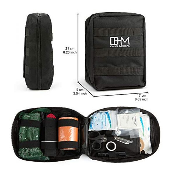D AND H MEDICAL First Aid Kit 4 D & H Medical Survival (IFAK) Trauma First Aid Kit for Emergencies. Includes Combat Action Tourniquet (CAT) and Much More. Great for Outdoor Gear for Camping Hiking Hunting Travel Car Adventures.