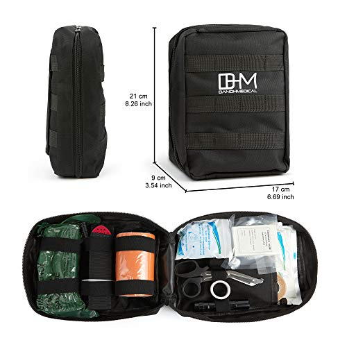 D AND H MEDICAL  4 D & H Medical Survival (IFAK) Trauma First Aid Kit for Emergencies. Includes Combat Action Tourniquet (CAT) and Much More. Great for Outdoor Gear for Camping Hiking Hunting Travel Car Adventures.