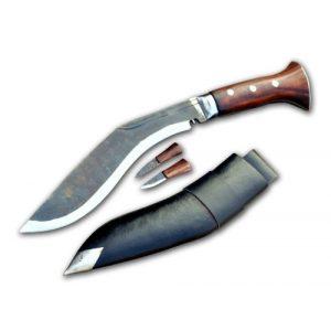 "GK&CO. Kukri House Fixed Blade Survival Knife 1 Genuine Gurkha Kukri Knife - 10"" Black Blade Full tang Panawal Angkhola Village Kukri - Handmade by GK&CO. Kukri House in Nepal."