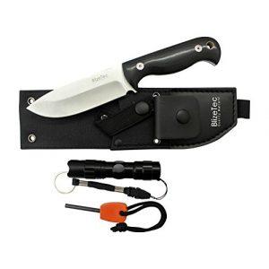 BlizeTec Fixed Blade Survival Knife 1 BlizeTec Survival Fixed Blade Knife: 3-in-1 Full Tang Hunting Knife with Magnesium Fire Starter, LED Flashlight & Belt Pouch